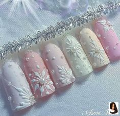 snow nails christmas winter manicure pastel Christmas Nail Designs, winter nails, Christmas nails, f Blue Nail Designs, Winter Nail Designs, Christmas Nail Designs, Acrylic Nail Designs, Acrylic Nails, Coffin Nails, Stiletto Nails, Acrylics, Snow Nails