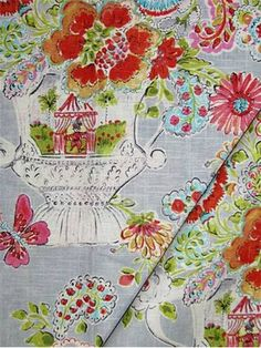 """Blissful Bouquet Sherbert -  Dena Home Fabric, beautiful floral print from California Dreaming Collection, drapery fabric, light use upholstery fabric, pillow fabric, headboard fabric. 55% linen, 45% rayon. Repeat; V 25.25"""" - H13.5"""". 54"""" wide. Permission has been granted by DENA HOME to display copyrighted designs. Product Designs © DENA HOME. All rights reserved."""
