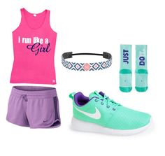 """""""Run Like A Girl (by my sister)"""" by lindsaythebrave ❤ liked on Polyvore featuring NIKE"""