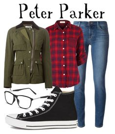 """""""Peter Parker/Spider-Man"""" by sallyrose2 ❤ liked on Polyvore featuring J Brand, GlassesUSA, Altuzarra and Converse"""