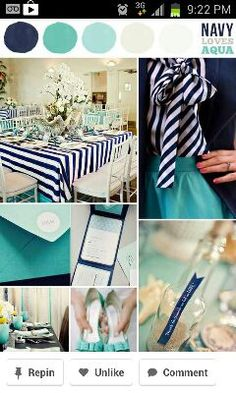 Navy and seafoam color pallet