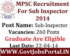 MPSC RECRUITMENT FOR SUB INSPECTOR POSTS 2014