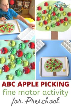 This ABC Apple Picking Fine Motor Activity for preschoolers is a great way for 3-5 year olds to learn letter recognition. Kindergarten Learning, Toddler Learning Activities, Motor Activities, Infant Activities, Literacy Games, Preschool Literacy, Apple Theme, Learning Letters, Letter Recognition