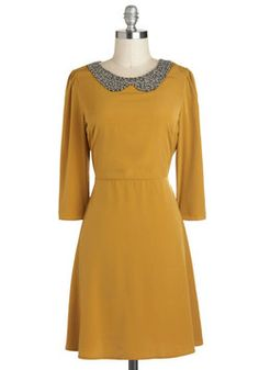 Go For the Marigold Dress, #ModCloth Another one of my favorite colors. The pewter collar works beautifully.