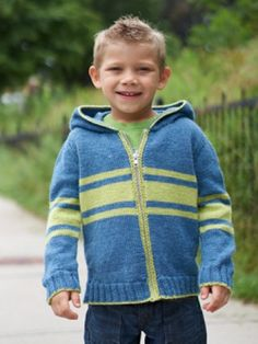 Free Pattern - This cozy striped #knit hoodie is a great laid-back layering piece for kids.