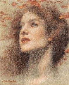 'With the Wind', Edward Robert Hughes