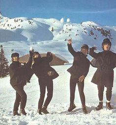 snow ball fight!!! SPLAATT!!! On the set of Help!