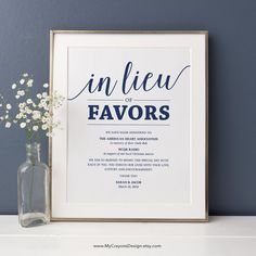 In Lieu of Favors Sign, Navy Wedding Signs Printable Donation Sign, In Lieu of Favors Template Wedding Signage Instant Download by MyCrayonsDesign on Etsy https://www.etsy.com/listing/481445563/in-lieu-of-favors-sign-navy-wedding