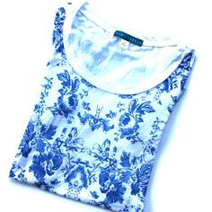 $5 FINAL Anthropologie French Blue Floral Tee Sz S ❌NO TRADES❌  - Anthropologie French Blue Mirrored Floral Tee Sz S  - Lightweight White & Blue Floral Front w/ Scoop Neck  - 54% Ryon, 36% Cotton, 10% Acrylic  - Worn once. Great condition. Anthropologie Tops Tees - Short Sleeve