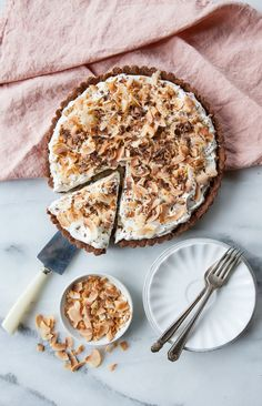 Coconut Cream Tart with Chocolate-Almond Crust | A Sweet Spoonful, in partnership with #DiamondNuts #sponsored