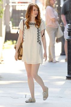 Cream baby doll dress with black pattern + cream brogues
