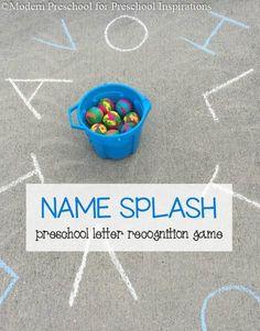 Name Splash Letter Recognition-Preschool alphabet activity for outdoor play Preschool Names, Preschool Letters, Kids Learning Activities, Alphabet Activities, Fun Learning, Preschool Schedule, Play Activity, Kindergarten Learning, Outdoor Learning