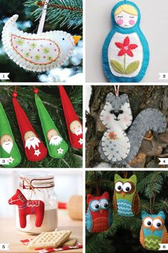 felt ornament patterns - love the squirrel and owls!
