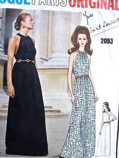 1960s YVES SAINT LAURENT Evening Gown Pattern VOGUE Paris Original 2093 YSL…