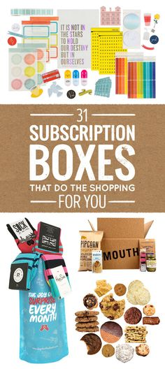 27 Subscription Boxes That Take The Stress Out Of Gift-Giving 31 Subscription Boxes That Do The Shopping For You Cheap Subscription Boxes, Subscription Gifts, Monthly Crates, Sample Box, Stressed Out, Gift Baskets, Raffle Baskets, Gifts For Mom, Girl Gifts