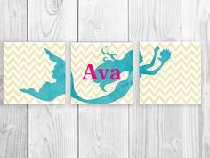Mermaid Nursery Print Set Mermaid Name Art by SmartyPantsStudio, $53.00