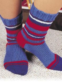Download the Free Knitting Pattern of the Day Striped Kids Socks Pattern