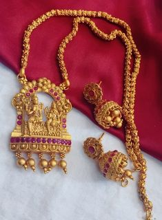 Temple jewelry Golden Matte Necklace with Earrings Haram Wedding Jewelry Gift for her,Jumka South In Wedding Jewellery Gifts, Indian Wedding Jewelry, Temple Jewellery, Indian Jewelry, Golden Necklace, Indian Necklace, Golden Jewelry, Keep Jewelry, Fine Jewelry