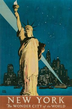 #Bright lights... New York, the wonder city of the world - #vintage #travel #poster #USA  #Travel Posters multicityworldtravel.com We cover the world over 220 countries, 26 languages and 120 currencies Hotel and Flight deals.guarantee the best price