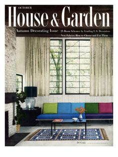 The October 1955 House & Garden advertised itself as the 'Autumn Decorating Issue' with this cover, a layout for a studio guest room furnished in midcentury modern design. Colorful felt cushions are lined neatly along a simple sofa, and curtains by Jack Lenor Larsen hang airily from the ample windows above. A glass lamp rests on top of the black cube that serves as an end table. Photograph by William Grigsby.