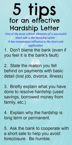 Whether it be a short sale or a loan modification, the Hardship Letter is a very  important part of the process.