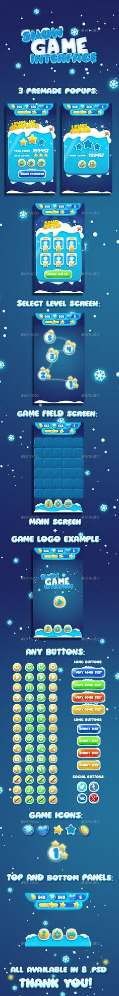 Buy Christmas Snow Cartoon GUI by ververver on GraphicRiver. Snow Cartoon Interface Game GUI PSD pack of all ui elements for your ice cute game. Game Gui, Game Icon, Powerpoint Game Templates, Kids Tablet, Bubble Games, Snow Theme, Game Ui Design, Ui Elements, Design Elements