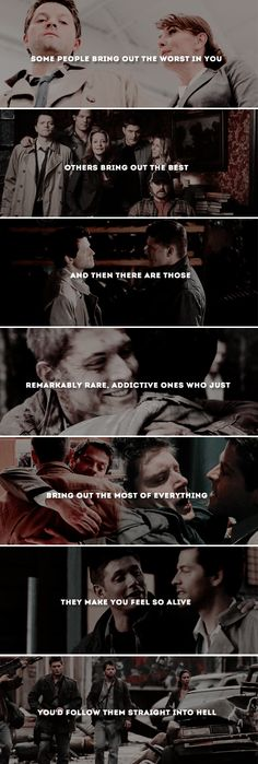 they make you feel alive you'd follow them straight into hell #spn #destiel