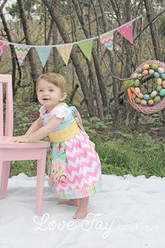 Girls apron dress swing top Ellie Girl by LoveTayBoutiqueLLC