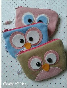 Jute Fabric, Felt Fabric, Felt Crafts, Fabric Crafts, Cute Coin Purse, Toddler Bag, Sewing Patterns, Crochet Patterns, Owl Bags