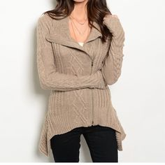 Gorgeous tan zip up sweater Gorgeous tan zip up sweater. Fabric Content: 70% POLYESTER 30% ANGOLA S-M-L available. Do not purchase this listing I will create one for youNo tradesNo discounts unless bundledI offer 10% off 2 items or more!! Sweaters Cardigans