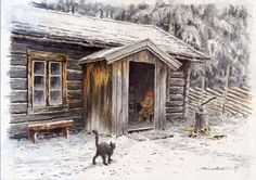 by Kjell Einar Midthun Norwegian Christmas, Nordic Christmas, Christmas Scenes, Christmas Time, Beautiful Paintings, Beautiful Images, Scandinavian Garden, Baumgarten, Kobold