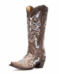 Corral Women's Tobacco/Beige Silver Sequin Cross Boot.  Not what I would consider a practical boot but it's got a nice tall shaft and a good look for dress or casual wear.