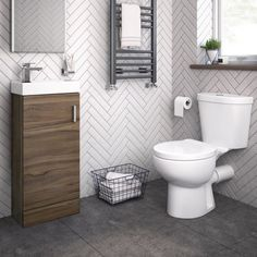 Sabrosa II Toilet & Slimline Basin Cabinet Cloakroom Set - Walnut Effect Bathroom Toilets, Bathroom Sets, Small Bathroom, Bathrooms, Toilet And Basin Unit, Understairs Toilet, Space Saving Toilet, Cloakroom Suites, Back To Wall Toilets