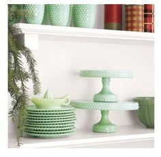 jadeite delicious cake stands and plates and cups