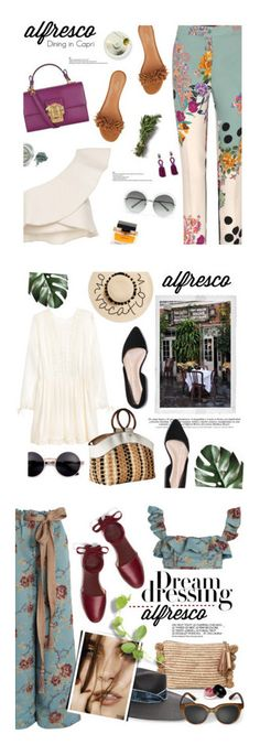 """""""Winners for Easy Breezy: Alfresco Dining"""" by polyvore ❤ liked on Polyvore featuring Isabel Marant, Etro, Dolce&Gabbana, Aquazzura, Chloé, Oscar de la Renta, Polaroid, August Hat, Sam Edelman and We Are Kindred"""