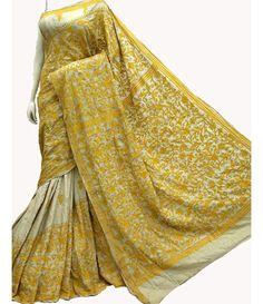 Yellow Hand Embroidered Kantha Work Silk Saree