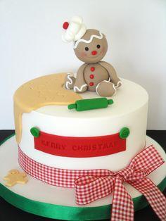 Cute gingerbread man sitting on a Christmas cake Christmas Themed Cake, Christmas Cake Designs, Christmas Cake Topper, Christmas Cake Decorations, Christmas Cupcakes, Holiday Cakes, Christmas Goodies, Christmas Desserts, Christmas Treats