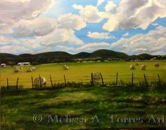 Hay Bales, by Melissa A. Torres. 16x20 water mixable oils on canvas. Created using a photo I took on a recent trip to Bandera, TX.