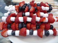 Strawberries, blueberries, marshmallows