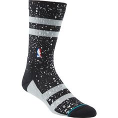 Stance Men's San Antonio Spurs Overspray Crew Socks (Black, Size Large) - Pro Licensed Product, Pro Licensed Novelty at Academy Sports