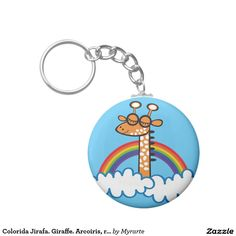 Colorida Jirafa. Giraffe. Arcoiris, rainbow. Regalos, Gifts. #llavero #KeyChain