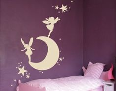 Best Quality Vinyl Wall Sticker Decals - Moon with elves ( Size: 16in x 9in - Color: lilac ) - No: 1343 by Wall Spirit, http://www.amazon.com/dp/B004WFQA80/ref=cm_sw_r_pi_dp_Gznarb1A5Z133