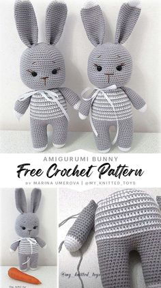 Crochet Animal Amigurumi, Crochet Amigurumi Free Patterns, Crochet Animal Patterns, Crochet Blanket Patterns, Amigurumi Doll, Crochet Bee, Crochet Rabbit, Easter Crochet, Crochet Dolls