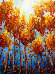 """""""Fall Trees"""" in Lakeway at Painting with a Twist - Lakeway Autumn Art, Autumn Trees, Your Paintings, Landscape Paintings, Landscapes, Fall Tree Painting, Atelier D Art, Paint And Sip, Paint Party"""