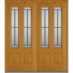 Milliken Millwork 72 in. x 80 in. Madison Decorative Glass 2 Lite Oak Finished Fiberglass Double Prehung Front Door