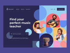Music schoool by Yuriy on Dribbble Web Design, Layout Design, Creative Design, Banner Vertical, Design Youtube, Youtube Banner Design, Web Mobile, Best Banner, Design Poster