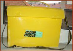 Gele koffertje die we kregen op school. Jaren 80