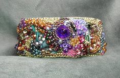 Bead Embroidery Cuff Bracelet Summer's Garden by beadedjewelrydiva, $349.00