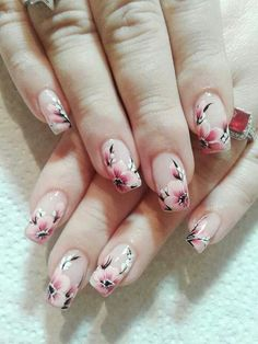 Flowers do not always open, but the beautiful Floral nail art is available all year round. Choose your favorite Best Floral Nail art Designs 2018 here! We offer Best Floral Nail art Designs 2018 .If you're a Floral Nail art Design lover , join us now ! Nail Art Designs, French Nail Designs, Nail Designs Spring, Nails Design, Spring Nail Art, Spring Nails, Spring Art, Nail Art Fleur, Cherry Blossom Nails