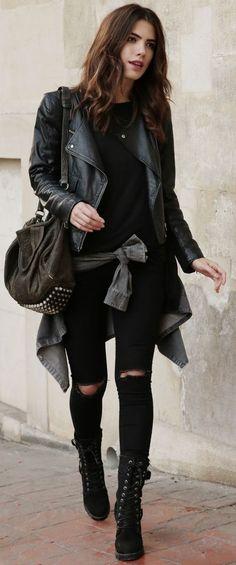 Total Black Rebel Vibes Fall Street Style Inspo by Maritsa